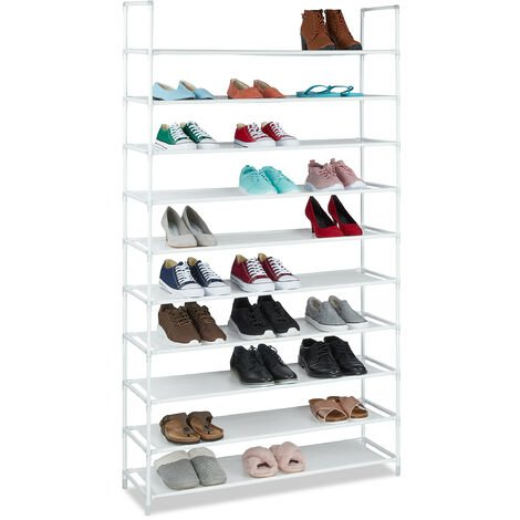 Relaxdays XXL Shoe Shelf For 50 Pairs of Shoes, 175.5 x 100 x 29 cm, Fabric and Metal, 10-Shelves, Black Grey