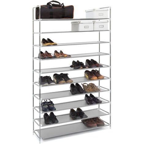 Relaxdays XXL Shoe Shelf For 50 Pairs of Shoes, 175.5 x 100 x 29 cm, Fabric and Metal, 10-Shelves, Grey