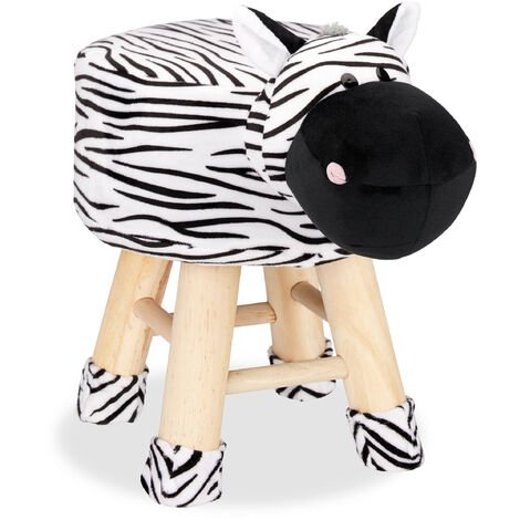 Relaxdays Zebra Foot Stool, Decorative Vanity Stool, Removable Cover, Wooden Legs, Padded, Black-White