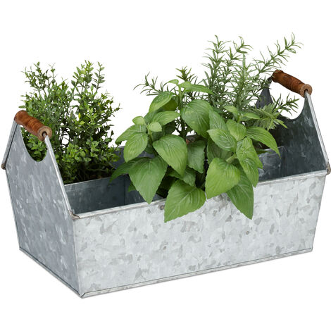 Relaxdays Zinc Box 6 Compartments, Tool Box, Wooden Handles, Planter, Bottle Carrier, Galvanized Iron, Colour Variation