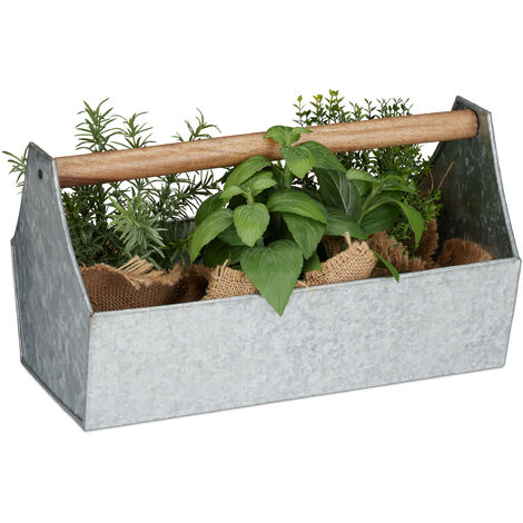 Relaxdays Zinc Box With Wooden Handle, Decor - Tool Box, Flowers & Herbs, Balcony, Planter, Galvanized Iron, Silver
