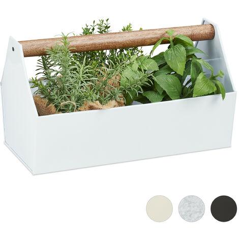 Relaxdays Zinc Box With Wooden Handle, Decor - Tool Box, Flowers & Herbs, Balcony, Planter, Galvanized Iron, Silver
