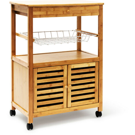 RelaxdaysJAMES Kitchen Island Trolley with Drawer Bamboo Wheeled Kitchen Cart Wooden with Large Tray and Basket Storage Trolley Cart with Doors, 80x 60x 35cm, XL, Natural
