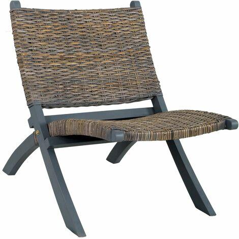 Relaxing Chair Grey Natural Kubu Rattan and Solid Mahogany Wood