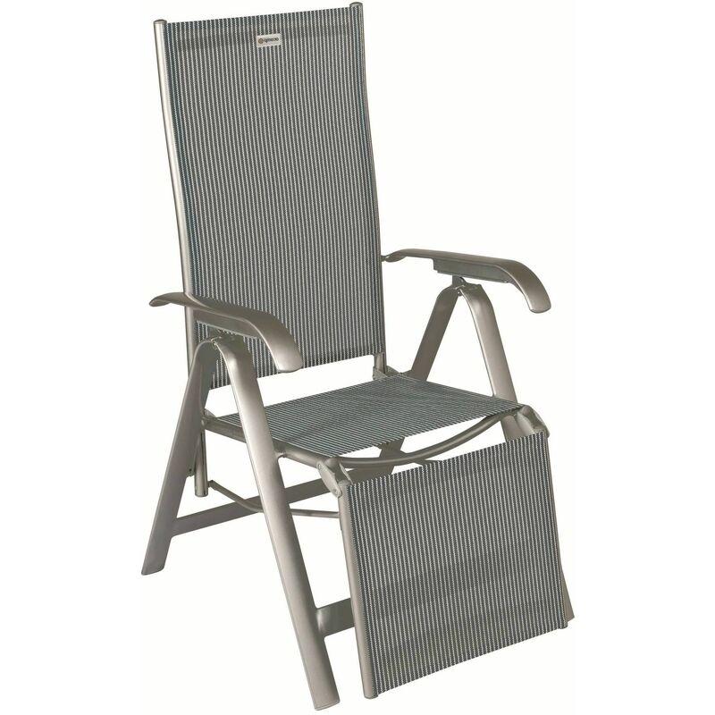 Relaxsessel Acatop platin/grigio mit ausklappbarem Fußteil - Acamp