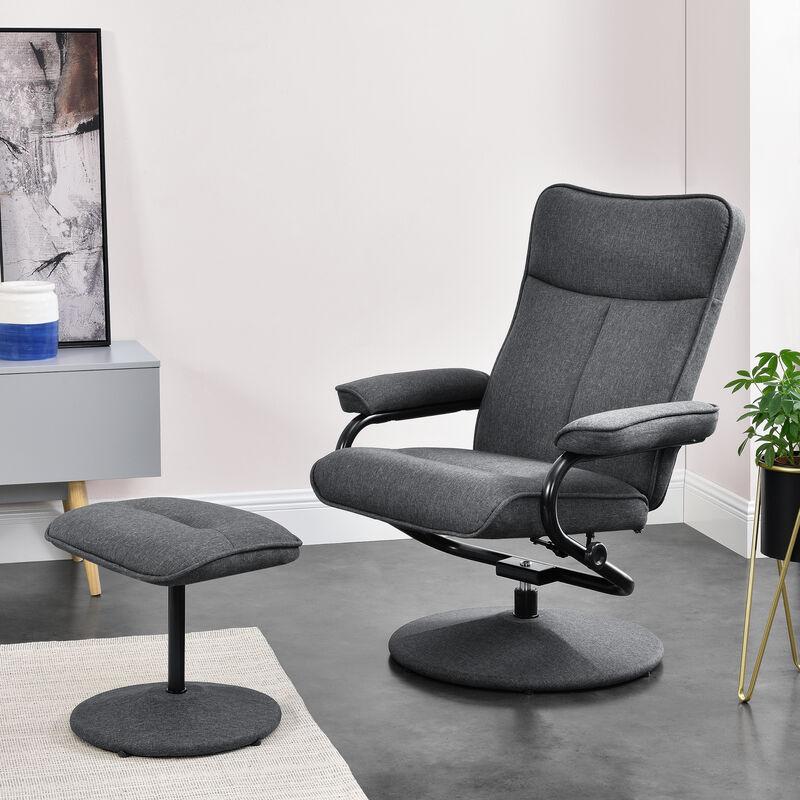 [en.casa] - Relaxsessel Fernsehsessel mit Fußhocker verstellbar 108x79x77cm Ruhesessel Stoff grau