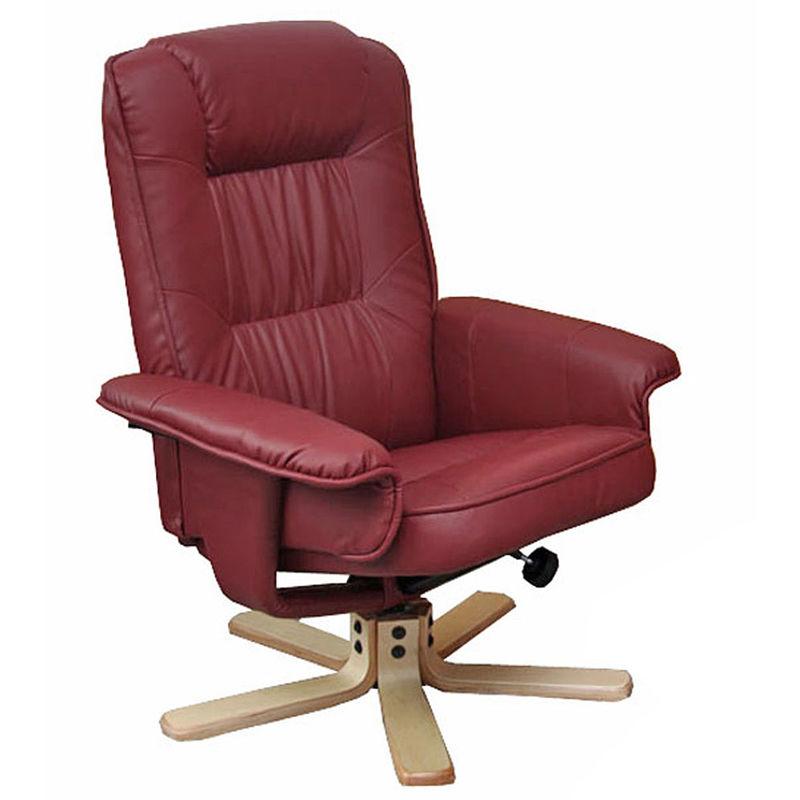 Relaxsessel Fernsehsessel Sessel ohne Hocker H56 Kunstleder ~ bordeaux - HHG