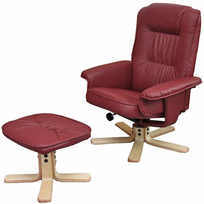 Relaxsessel H56, Fernsehsessel TV-Sessel mit Hocker, Kunstleder ~ bordeaux - HHG