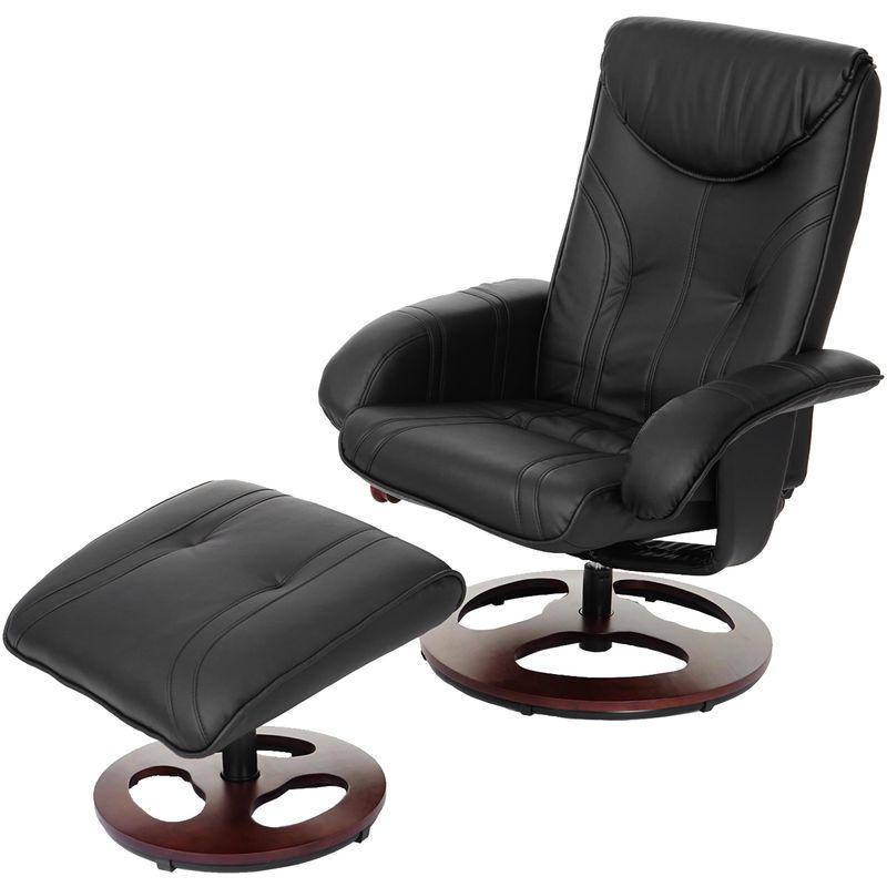 Relaxsessel 657, Fernsehsessel Sessel mit Hocker, Kunstleder ~ schwarz - HHG