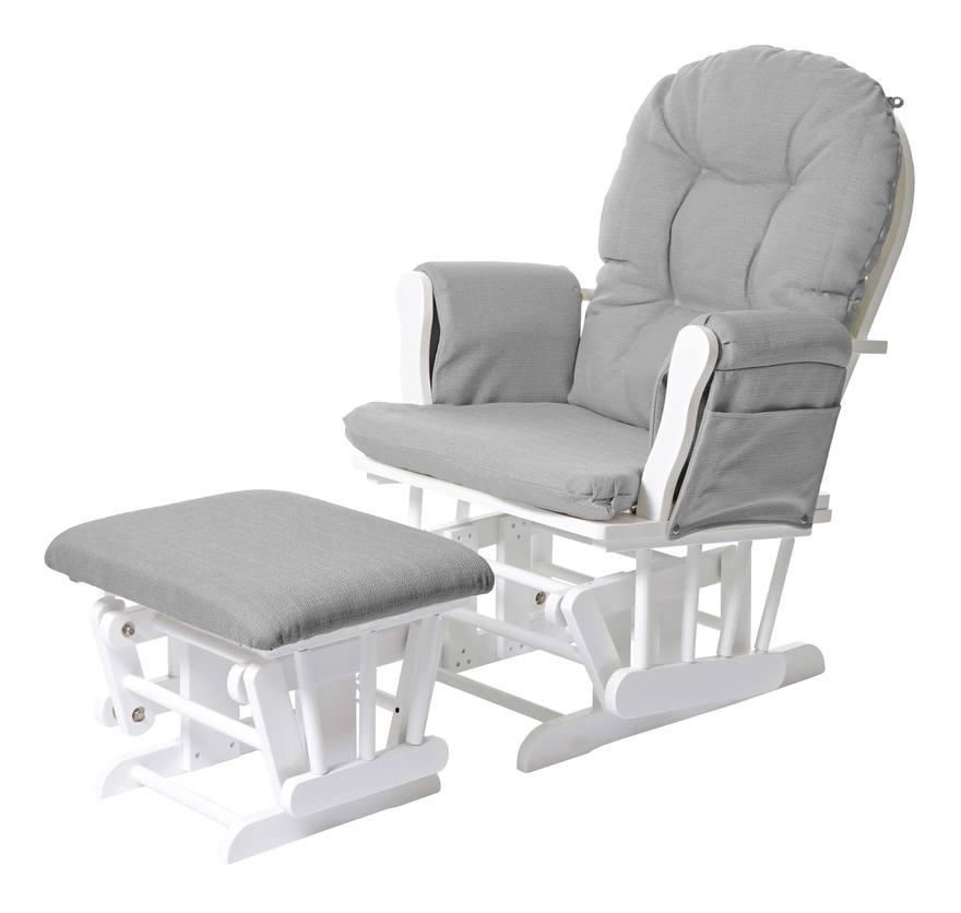 Relaxsessel 721, Schaukelstuhl Sessel Schwingstuhl mit Hocker ~ Stoff/Textil, hellgrau, Gestell weiß - HHG