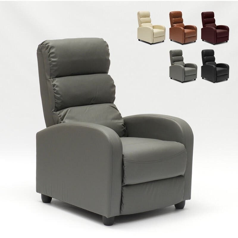 Relaxsessel Liegefunktion Zurückklappbar Fußschemel Kunstleder Ökoleder Design Alice | Farbe: Grau - LE ROI DU RELAX