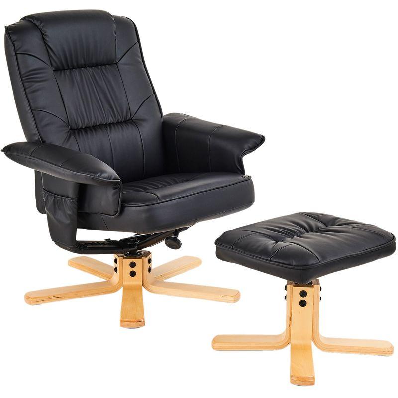 Relaxsessel mit Hocker CHARLY Polstersessel in schwarz - IDIMEX