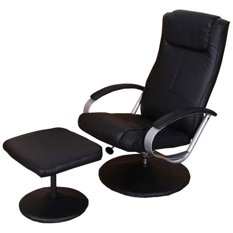 HHG - Relaxsessel Siena mit Hocker ~ schwarz