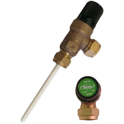 Reliance - 7 Bar TPR15 15mm CMP x 15mm CMP Temperature & Pressure Relief Va