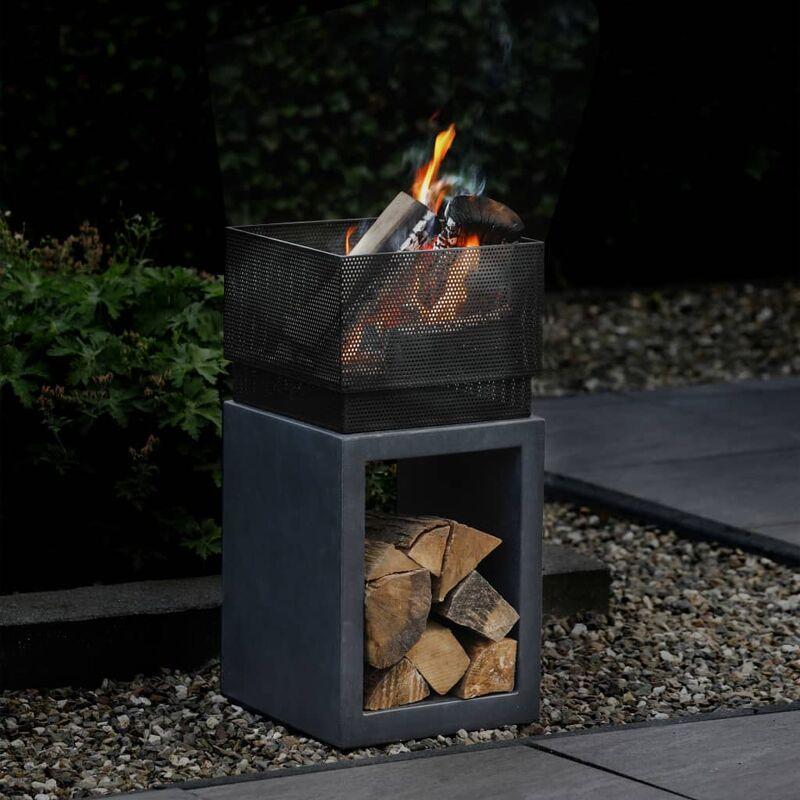 Relite Feuerschale Quadrat Mit Sockel In Granit Optik 979756