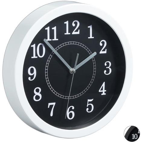 Reloj de pared, Ø 20 cm, Diseño clásico, A pilas, Blanco