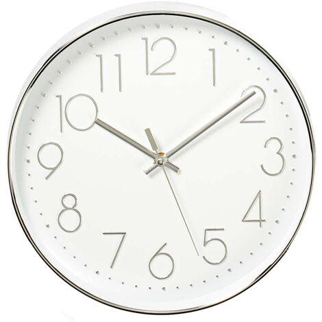 Reloj de pared blanco y plata ø30cm (Nedis CLWA015PC30SR)
