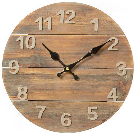 Reloj de pared de madera ø30cm (Nedis CLWA002WD30)