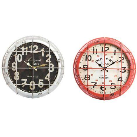 Reloj de pared de madera y metal (46x10 cm) Rojo