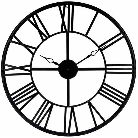 "main image of ""Reloj de pared metálico negro vintage"""