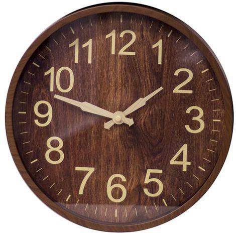 Reloj de pared redondo analógico de 31cm, silencioso