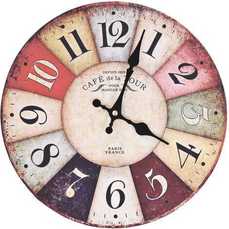 Reloj de pared vintage colorido 30 cm