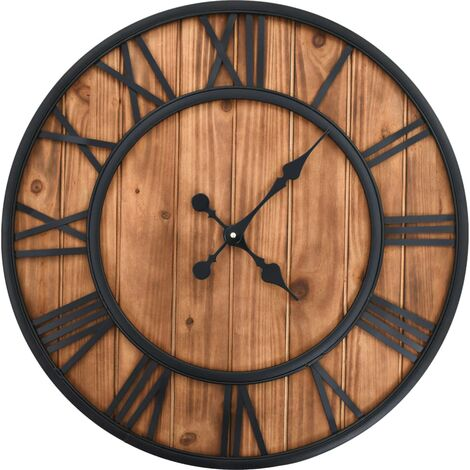 Reloj de pared vintage movimiento cuarzo madera metal 60 cm XXL