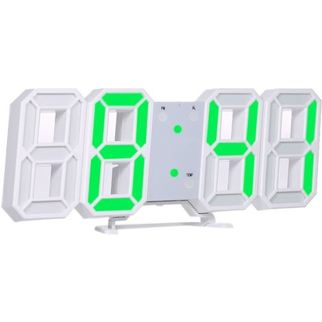 Reloj digital LED 3D, marco blanco y luz verde