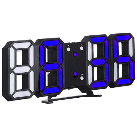 Reloj digital LED 3D, marco negro y luz azul