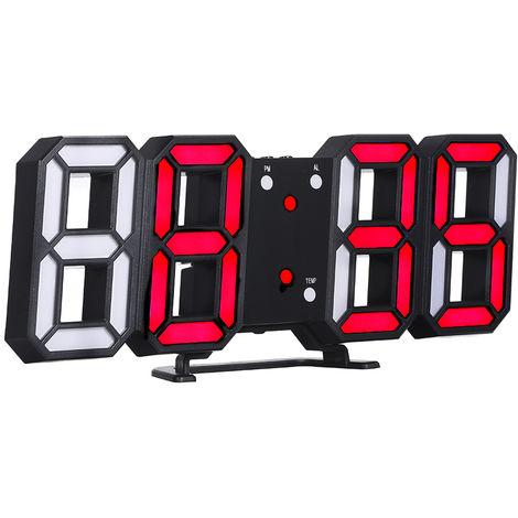 Reloj digital LED 3D, marco negro y luz roja