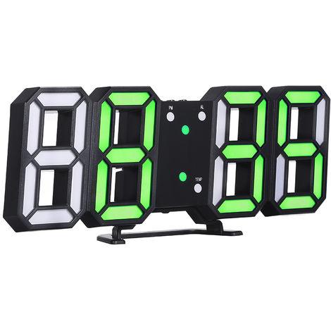 Reloj digital LED 3D, marco negro y luz verde