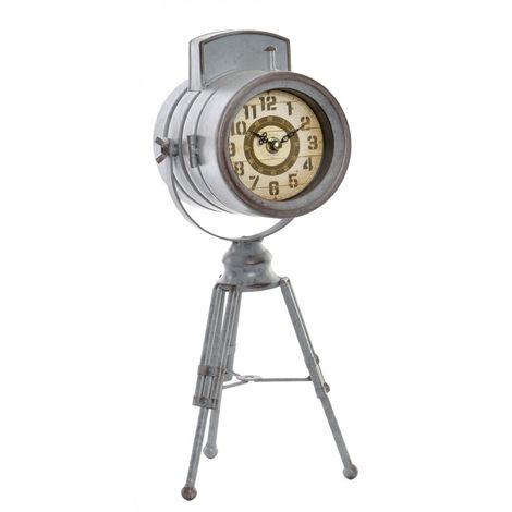 Reloj Foco Antiguo de Sobremesa, Ambiente Industrial Ideal para decorar. Vintage/Realista 17X17X38 cm.-Hogarymas- A