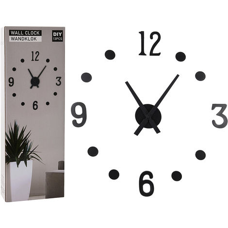 Reloj pared adhesivo Negro