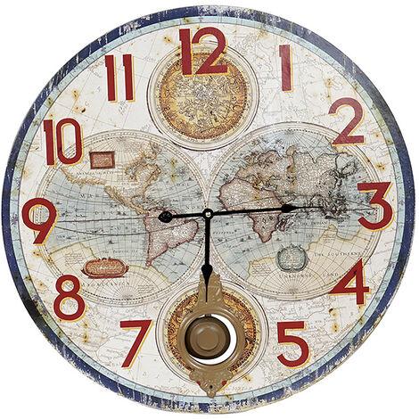 Reloj Pared Analógico Con Péndulo, Reloj Vintage de Madera, Diseño Original/Moderno, 58X3x58 cm - Hogar y Más Azul