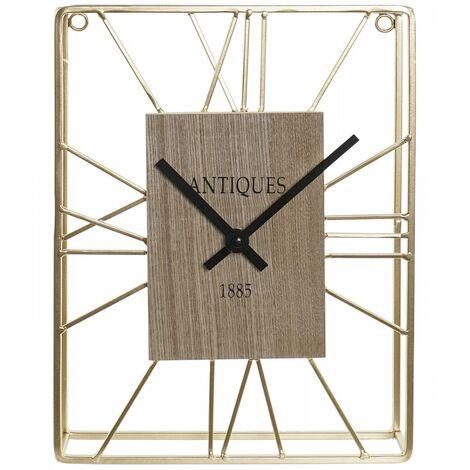 Reloj Pared Analógico de Metal y Madera, Reloj Dorado de Metal, Diseño Moderno/Elegante 22,5x5x30cm Hogar y Más