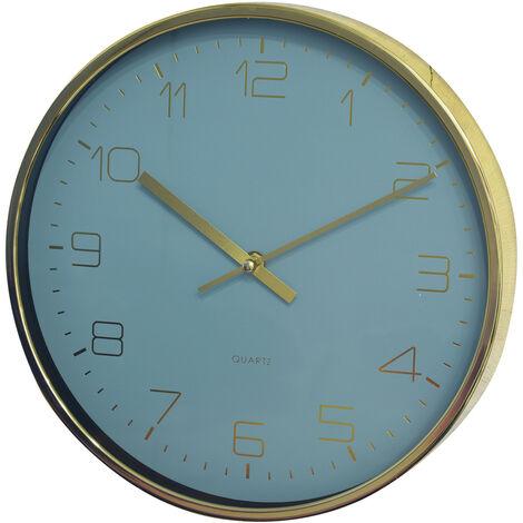 Reloj Pared Dorado Analógico Original, Relojes de Pared Modernos 30x4 cm Azul claro