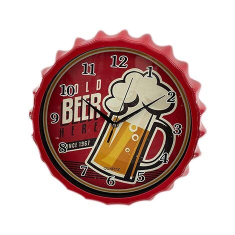 Reloj pared estilo chapa cerveza 32 cm