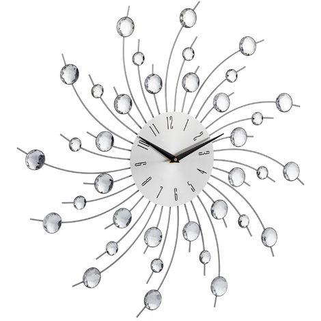 Reloj Pared Grande Decorativo, Hierro, Plateado, 50 cm