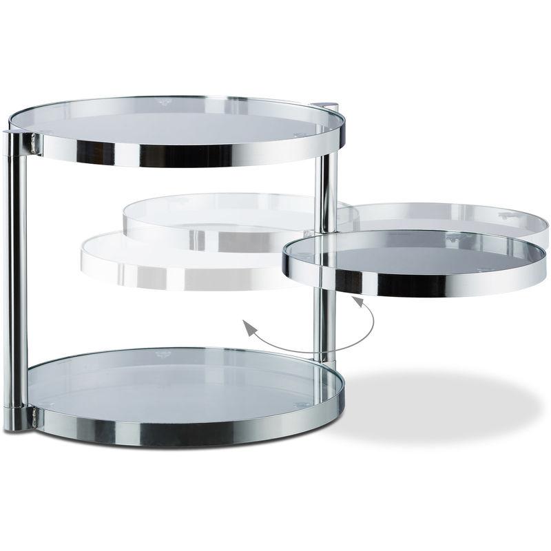 Divano in Vetro con ripiano Girevole Argento HxLxP: 39 x 52 x 45 cm ca. 3 Piani Rotondi Relaxdays Tavolino da Salotto