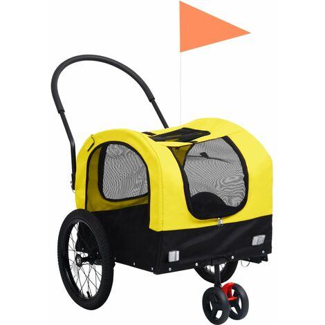 Remolque bicicleta mascotas carrito 2 en 1 amarillo y negro