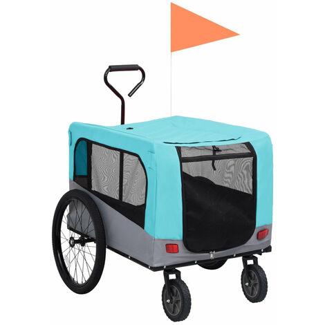 Remolque carro de bicicleta mascotas 2 en 1 azul y gris