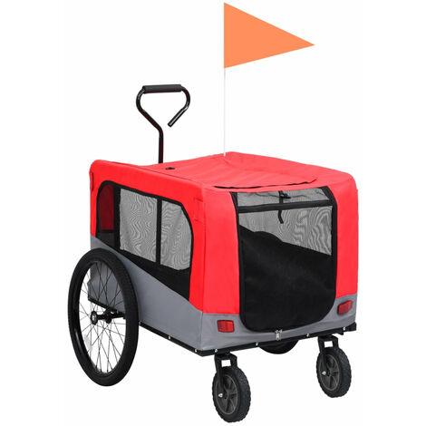 Remolque carro de bicicleta mascotas 2 en 1 rojo y gris