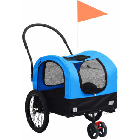 Remolque de bicicleta mascotas carrito 2 en 1 azul y negro