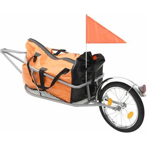 Remolque de bicicleta para equipaje con bolsa naranja y negro