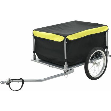 Remolque de carga para bicicletas negro y amarillo 65 kg