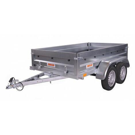 Remolque doble 2,42 x 1,35m suelo madera, potencia eje 750kg basculante