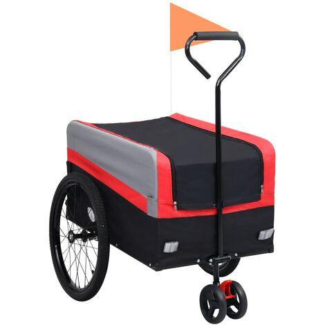 Remolque y carrito de bicicleta XXL 2 en 1 rojo gris y negro