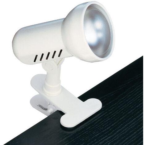 REMORA - Spot a pince E27 100W max, orientable, blanc, lampe non incl.