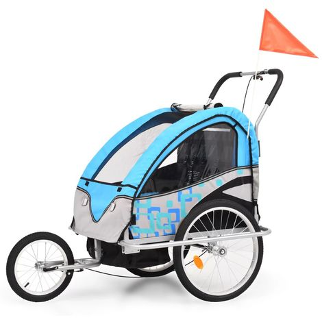 Remorque a velo et poussette pour enfants 2-en-1 Bleu et gris
