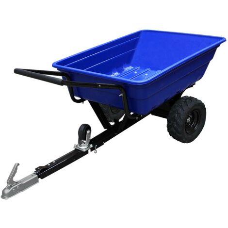 Remorque ATV Chariot Jardin Chargement Puissant Tracteur Roues Tout-Terrain Ferme 295kg - Bleu
